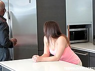 Ebony neighbor's dick is incredibly big but throat of Latina student Sara Luvv is deeper 4