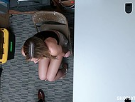 Hottie with watering eyes is in trouble so now she is required to orally satisfy head of security 9
