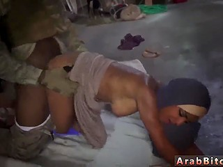 Petite Arab in long robe was caught by American military men and got pussy stretched