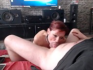 Obedient red-haired MILF from Poland stays on her knees and sucks pleased husband's cock