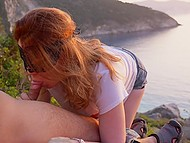 Beautiful sea view can be seen behind red-haired girl's back while she sucks husband's thing 6