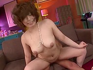 Japanese guy pays visit to lonely housewife with strong breasts and cums inside her shaved pussy