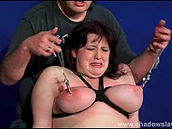 Mature dominant ties up chubby brunette slave, spanks her with whip and tramples with boots 10