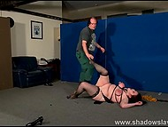 Mature dominant ties up chubby brunette slave, spanks her with whip and tramples with boots 6