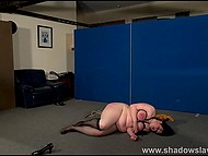 Mature dominant ties up chubby brunette slave, spanks her with whip and tramples with boots 9