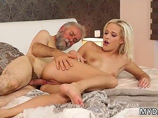 Man with grey beard catches the second breath and fucks young pretty blonde well