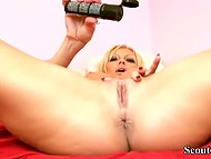 Voluptuous German temptress caresses rubber dildo like it's a real cock 7