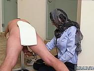 Arab girl in headscarf presents handjob now to black man now to white comrade 4