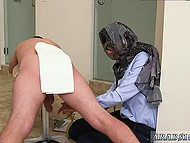 Arab girl in headscarf presents handjob now to black man now to white comrade 5