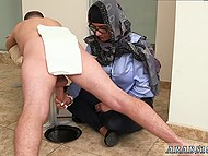 Arab girl in headscarf presents handjob now to black man now to white comrade 8