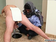 Arab girl in headscarf presents handjob now to black man now to white comrade 9