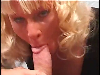 Golden-haired woman from Finland asks about cock in mouth and this wish comes true immediately