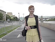 Russian sweetie Jeny Smith had a walk through city and flashed nude pussy in rainy weather 7