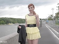 Russian sweetie Jeny Smith had a walk through city and flashed nude pussy in rainy weather