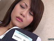 Japanese office worker teases pussy with vibrator and gets caught by perverted boss 7