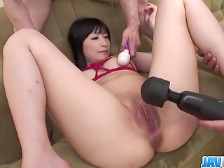 Males bring a lot of vibrators and dildos into play chasing Japanese girl's squirting orgasm