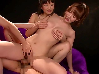 Buddies almost lost their minds with happiness when two slender Japanese babes agreed foursome