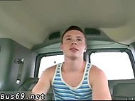 Straight guy gets blindfolded and then homosexual friend gives him head in the van 9
