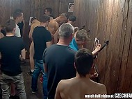 Males get together in cheap Czech brothel, where pussies and mouths are behind the walls