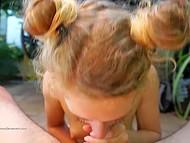 Seductive German babe with curvy hair rolls her eyes sucking lover's phallus 9