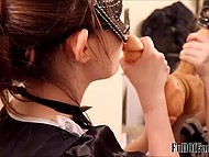 Masked French maid sticks dildo to the mirror for improving her deepthroating skills 6