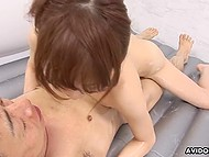 Fragile Japanese masseuse rubs hairy pussy against hard cock till it dives inside as expected 6