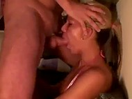 Trouble-free woman from Norway sits by the wall when partner comes and deepthroats her 7