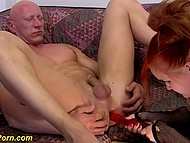 German redhead thrusts dildo into anus of older man before he fucks girls in turn