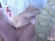 Two old men can't get hard anymore and can just lick aged female's vagina in amateur video 5