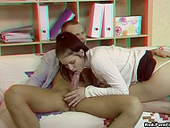 Long-legged Russian student and tutor finished lessons and he penetrated tiny asshole one last time 6