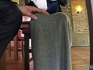 Lustful businessman services scared Arab refugee with food and puts hand in her panties 4