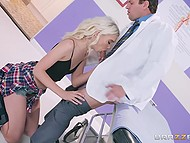 Impatient blonde takes off doctor's pants to make him forget about patient and fuck her 5