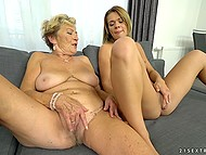 Old lesbian practices asslicking and masturbates pussy sitting next to young blonde 10