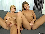 Old lesbian practices asslicking and masturbates pussy sitting next to young blonde 11