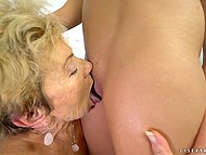 Old lesbian practices asslicking and masturbates pussy sitting next to young blonde 4