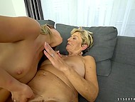 Old lesbian practices asslicking and masturbates pussy sitting next to young blonde 5