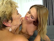 Old lesbian practices asslicking and masturbates pussy sitting next to young blonde 9