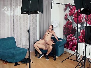 Blonde German wife can just admire her lustful husband analyzing hot to trot brunette