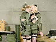 Sexy military girls don't want to fight, all they need is loving and lesbian fucking 4