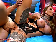 Mouth of tattooed slut with massive tits and ass collects cum after group fuck and this is one of its main functions