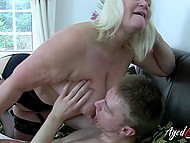 Mature hussy wore black stockings and called younger lover because she wanted to suck him off 11