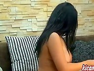 Black-haired chick from Slovenia puts finger in tight asshole streaming online on webcam 11