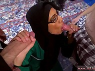Big and small peckers were treated well by tender mouth of Arab whore in hijab