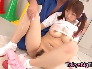 Coach can't fuck teen Japanese sportsgirl but can play with her hairy sissy in locker room