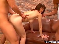 Fuckers try their best to bring double portion of sexual pleasure to tall hottie from Japan