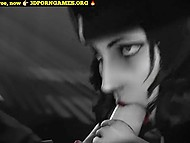Black and white XXX cartoon starring busty character of famous video game Bioshock taking dick in pussy