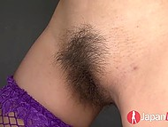 Man has to tie up tall Japanese female in stockings to make that hairy pussy squirt 10