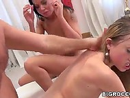 Subtle Latvian whores hospitably meet hard Italian fuckstick inside their anal holes 8