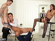 Lithuanian beauty Tina Kay in sexy lingerie joins two bisexual dudes in HD sextape 6