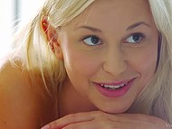 Playing game in bedroom make two sweet blondes willing to have sensual lesbian sex 3